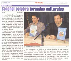 Conchel celebra jornadas culturales