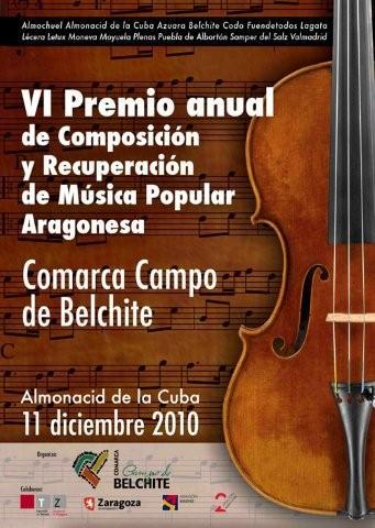 """Convocatoria del VI Premio Anual de Composición y Recuperación de Música Popular Aragonesa """"Comarca Campo de Belchite"""""""
