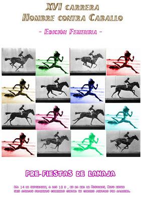 Las mujeres corren contra el caballo en la carrera de Lanaja
